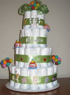 Large circus themed diaper cake