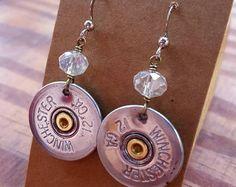 Shotgun shell earrings black crystal rondelle bead by TheCuteNewt Bullet Earrings, Shell Earrings, Bullet Casing Crafts, Shotgun Shells, Shooting Sports, Bullets, Black Crystals, Leather Jewelry, Jewelry Ideas