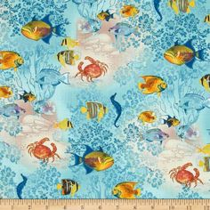 Spectrix Tropical Dreams Fish Allover Blue by JeanMariesFabrics: