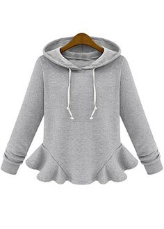 Sportive Thickened Pattern Grey Long Sleeve Hoodies with Frill on sale only  US$18.87 now,