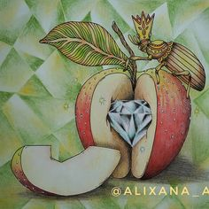 Coloring Book Art, Adult Coloring Pages, Hanna Karlzon, Colored Pencil Techniques, Apple Pear, Pears, Colored Pencils, Color Inspiration, Apples