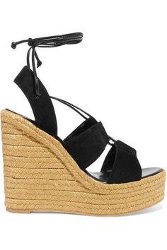Saint Laurent - Suede Espadrille Wedge Sandals - Black - IT