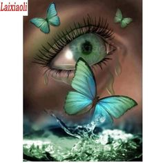 You too can be an artist when you paint with Diamonds! Every kit gives you a chance to create a work of art you can be proud of. This diamond painting kit Gorgeous Eyes, Pretty Eyes, Cool Eyes, Butterfly Eyes, Green Butterfly, Eyes Artwork, Crazy Eyes, Montage Photo, Eye Art