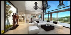 Large double height ceiling and glazing feature.