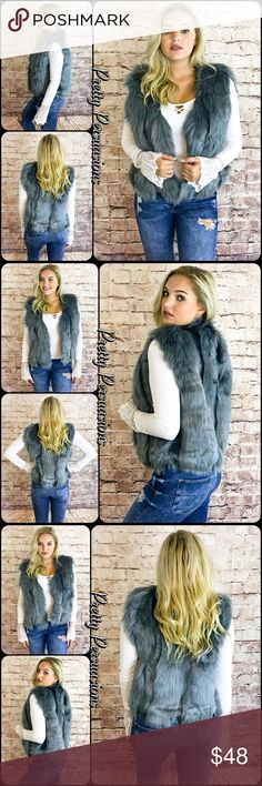 """NWT Gray Faux Fur Vest NWT Gray Faux Fur Vest  Available in S, M, L Measurements taken from a small  Length: 22"""" Bust: 38"""" Waist: 38""""  100% Acrylic   Features  • all over uber soft faux fur • fully lined interior  • hidden single hook closure at front • sleeveless   Bundle discounts available  No pp or trades   Item # 1/209280480GFV faux fur fall winter gray silver layering trending chic Pretty Persuasions Jackets & Coats Vests"""
