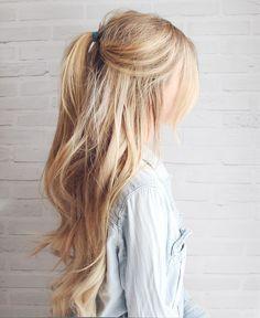 Kassinka-Half-Up-Hair-Tutorial blonde long hair cuts, blonde hair Lazy Day Hairstyles, Easy Summer Hairstyles, Ponytail Hairstyles, Hairstyle Ideas, Simple Hairstyles, Updo Hairstyle, Wedding Hairstyles, Hairstyles Haircuts, Hairstyles For Picture Day