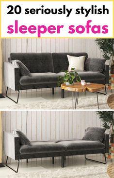 Grey velvet sofa bed