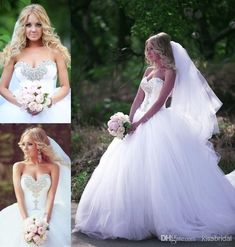 Wholesale Ball Gown Wedding Dresses - Buy 2015 Bling Bling Ball Gown Wedding Dresses White Crystal Beaded Sweetheart Plus Size Tulle Court Train Bridal Gowns, $141.93   DHgate