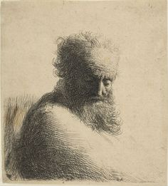 Bust of an Old Bearded Man Looking Down, Three-Quarters Right Artist: Rembrandt (Rembrandt van Rijn) (Dutch, Leiden Amsterdam) Date: 1631 Rembrandt Etchings, Rembrandt Drawings, Rembrandt Art, Life Drawing, Painting & Drawing, Art Postal, Dutch Painters, Caravaggio, Leiden
