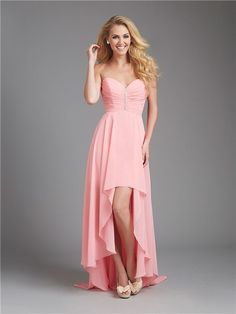 A Line Sweetheart High Low Coral Chiffon Ruched Wedding Guest Bridesmaid Dress