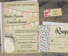 Printable Rustic Wedding Invitation Set, Mason Jar Wedding Invitation, Summer Barn Wedding Invite w/ Bunting Flags, Country Wedding by X3designs $45.00