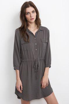 JUSTINE DRAWSTRING SHIRT DRESS, Velvet by Graham & Spencer.   shopfootloose.com