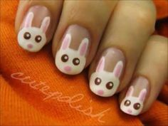 Cute Easter Bunny Nails that seem easy enough