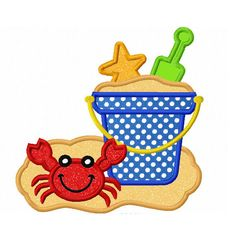 Instant Download Beach Bucket  Applique Machine Embroidery Design NO:1314
