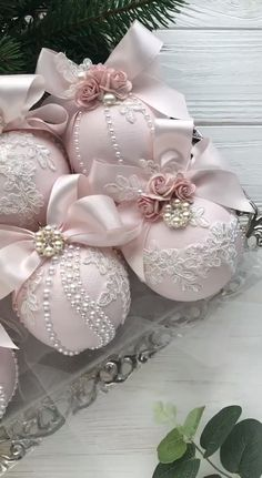 Christmas Ornaments Set of 6 Elegant Christmas Ornaments Lace Blush Pink Christmas Ornament Handmade- - decorativeboxes.- Christmas Ornaments Set of 6 Elegant Christmas Ornaments Lace Blush Pink Christmas Ornament Handmade- - decorativeboxes. Shabby Chic Christmas Ornaments, Pink Christmas Decorations, Christmas Ornament Sets, Elegant Christmas, Victorian Christmas, Handmade Ornaments, Handmade Christmas, Christmas Crafts, Christmas Baubles
