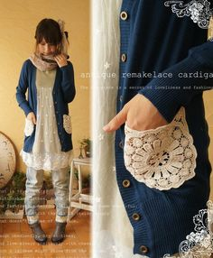 DIY idea: sew doily to cardigan for instant pocket