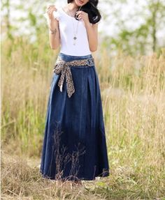 Maxi Full Denim Skirt.  Not usually a fan of long denim skirts but I love this one.