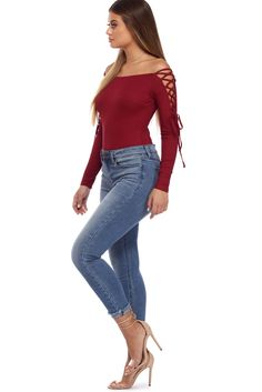 Stay trendy and flirty with this coy bodysuit! It features an off the shoulder neckline, long sleeves with lace up details, a stretchy ribbed knit and a high Burgundy Bodysuit, Body Suit Outfits, Money Talks, Lace Bodysuit, Bodysuits, Windsor, Final Sale, Off The Shoulder, Cute Outfits