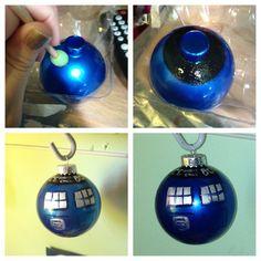 DIY Tardis Glass Ornament #doctorwho