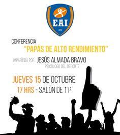 Invitamos a los papás y mamás activos a la conferencia de psicología deportiva este jueves 15 de octubre.