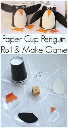 Paper Cup Penguin Craft Roll and Make Game! Paper Cup Penguin Craft Roll and Make Game! Winter Activities, Craft Activities, Preschool Crafts, Fun Crafts, Christmas Activities, Penguin Party, Penguin Craft, Penguin Birthday, Winter Crafts For Kids