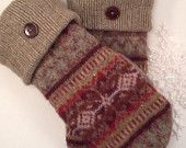 Wool Sweater Mittens  Warm Fleece Lined Upcycled Eco Gift