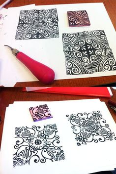 Multiple designs from one stamp-Printmaking PERFECT for a tesselatoin creation extension! High School Art, Middle School Art, Classe D'art, Atelier D Art, Stamp Carving, Handmade Stamps, Stamp Printing, School Art Projects, Art Graphique