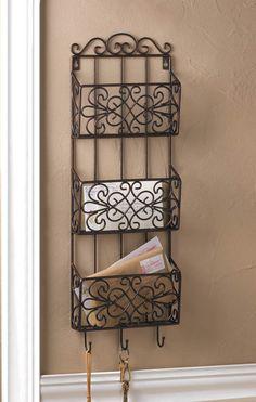 in out box black brown metal wall mail Letter Key hook 3 tier bill organizer #RacksStandsHooks