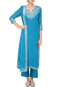 Surendri by Yogesh Chaudhary Light Blue Foil Dots Work Kurta Set #happyshopping#shopnow#ppus