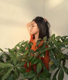 #90svibe #ulzzang #streetsyle #fashion #outfits #moda #makeup #highlight #orange #kfashion #clearglasses #aesthetic