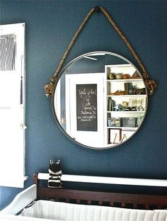 With just a bit of creativity and elbow grease, the superbasic Grundtal mirror is transformed into an industrial rope mirror with a nautical vibe — perfect for a nursery or little boy's room.