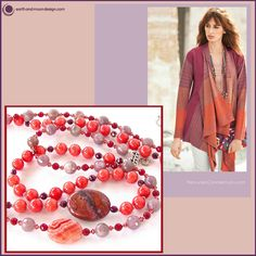 """This necklace set is a harmonious blend of nesting pink and purple gemstones. Beautiful poppy colored jade and soft purple charoite with pops of Swarovski crystal create a romantic backdrop for the pair of  semi-precious focal beads. Closes at 24""""."""
