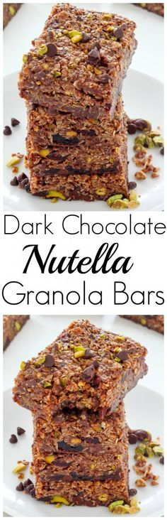 Dark Chocolate Pistachio Nutella Granola Bars - quick, easy, and perfect for on-the-go snacking!