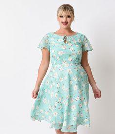 Unique Vintage Plus Size 1940s Style Mint Floral Formosa Swing Dress
