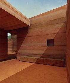 rammed earth courtyard - A House In Luanda