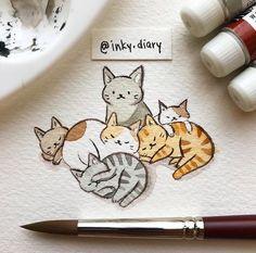 #cute #kittens #cat Cute Drawings, Animal Drawings, Cute Cat Drawing, Kitten Drawing, Illustration Art, Cat Illustrations, Croquis, Cat Art, Watercolor Art