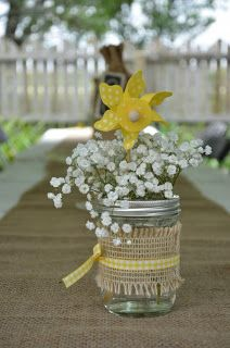 "We tried to design the centerpiece with an outdoor/rustic/vintage look & feel to create the perfect atmosphere for the ""I DO"" BBQ Wedding Celebration. http://isitfiveoclocksomewhere.blogspot.com/2013/09/two-sisters-wedding-how-its-5-oclock.html"