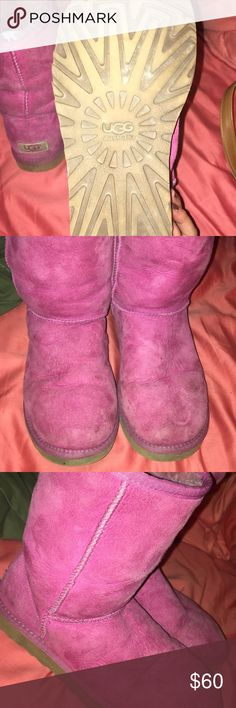 Pink ugg boots Pink ugg boots! Super comfortable 7/10 condition UGG Shoes Winter & Rain Boots