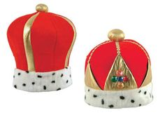 KING & QUEEN PLUSH CROWN Set - Velvet, lamé, and faux ermine. - Also sold separately.