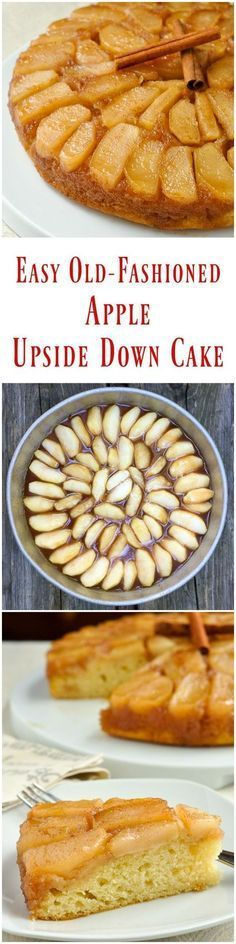 Old Fashioned Apple Upside Down Cake - a decades old family recipe that uses very simple ingredients to create a comfort food dessert that everyone will love; a classic Autumn dessert thats only improved by a big scoop of vanilla ice cream. Apple Recipes, Fall Recipes, Sweet Recipes, Baking Recipes, Rock Recipes, Dinner Recipes, Dinner Ideas, Kabasa Recipes, Quorn Recipes