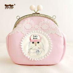 2016 Metal Frame Mouth Gold Handmade Cartoon Cat Package Pink Tassel Lace Mini Hasp Women's Handbags Shoulder Cross-body BagS