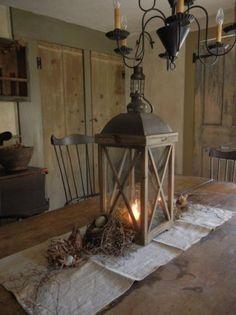 Lantern adorns old table