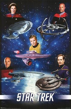 The Captains - top left janeway, top right sisco, middle kirk, bottom left picard, bottom right archer