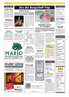 Die heutige Ausgabe vom Visper Anzeiger mit Green Garden Mario