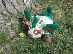 Pokemon Inspired: Leafeon Amigurumi Crochet by TheTallGrass  Handmade plushie (in crochet Amigurumi style) of the Grass Eevee evolution, Leafeon, from Pokemon!   Leafeon measures 10in long, 5in tall and 7in wide. She is stuffed with polyfil stuffing and her eyes/detailing are needle-felted on to fully capture this beautiful Pokemon.