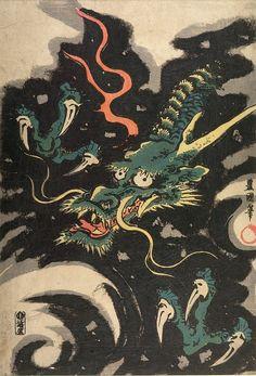 Japanese Art Prints, Japanese Drawings, Japanese Artwork, Dragon Japanese Tattoo, Japanese Tattoo Art, Mediterranean Art, Ancient Japanese Art, Dragon Illustration, Harvard Art Museum