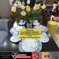 Welcome the HOLIDAY SEASON to your home with CHINA, DINING ROOM SETS and HOLIDAY GIFTS at affordable prices from Estates Consignments 1500 Contra Costa Blvd Pleasant Hill, CA 94523 (925) 682-6800 #diningroomfurniture #china #holidaygifts #affordablegifts #bestbuys #estatesconsignments #estatesconsign #consignments #finejewelry #brandnamewatches #newandpreowned #diningroomsets #holidaydining #holidayparty
