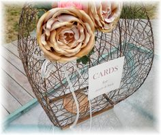 UNIQUE Large Wedding Card Lantern Money Card Box Copper Like  CUSTOMIZE Your Names Sentiments Flowers Wishing Well