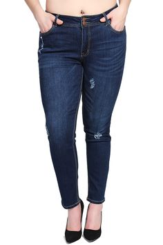 TheMogan Women's Dark Blue Distressed Stretch Skinny Jeans, Dark 2XL. Mid rise. 2 button with zip fly closure. Skinny legs with ankle cut. Basic 5 pockets. 70% cotton 27% polyester 3% spandex.