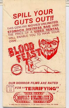 Promotional vomit bag - Just thinking of the concept of instilling the emotion into your prospects. Vintage Horror, Vintage Ads, Vintage Posters, Horror Movie Posters, Horror Films, Herschell Gordon Lewis, Terrifying Movies, Horror Show, Thing 1